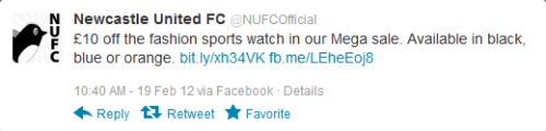 An example of Newcastle United's twitter spam